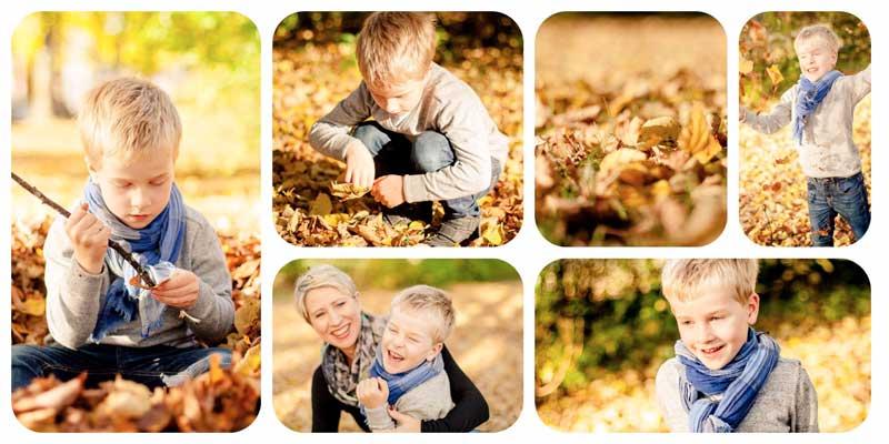 Kinderfotowettbewerb 2017 - Spiegelreflexkamera richtig nutzen - Moritz mit Herbstblättern in der Natur