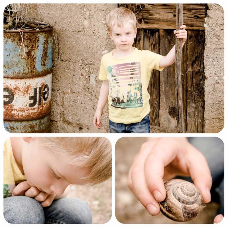 Fotowettbewerb mit Kindern - Fotografieren mit der Spiegelreflexkamera - Moritz beim Schneckensammeln in der Natur