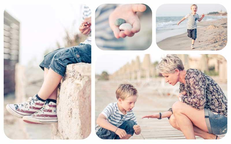 Fotografieren lernen beim Kinder Fotowettbewerb - Moritz am Strand mit Muscheln