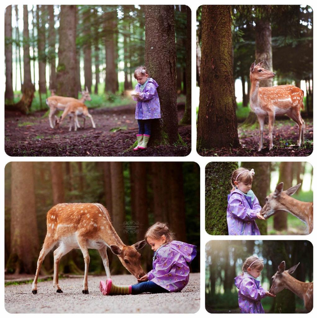 Kinder fotografieren im Wald